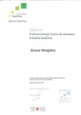 """Diploma Corso di secondo livello """"Qualità CasaClima nella posa del serramento"""""""